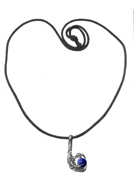 Medieval Metal - Bird Claw Blue Sphere Silver Necklace, (BCN-BL-S)