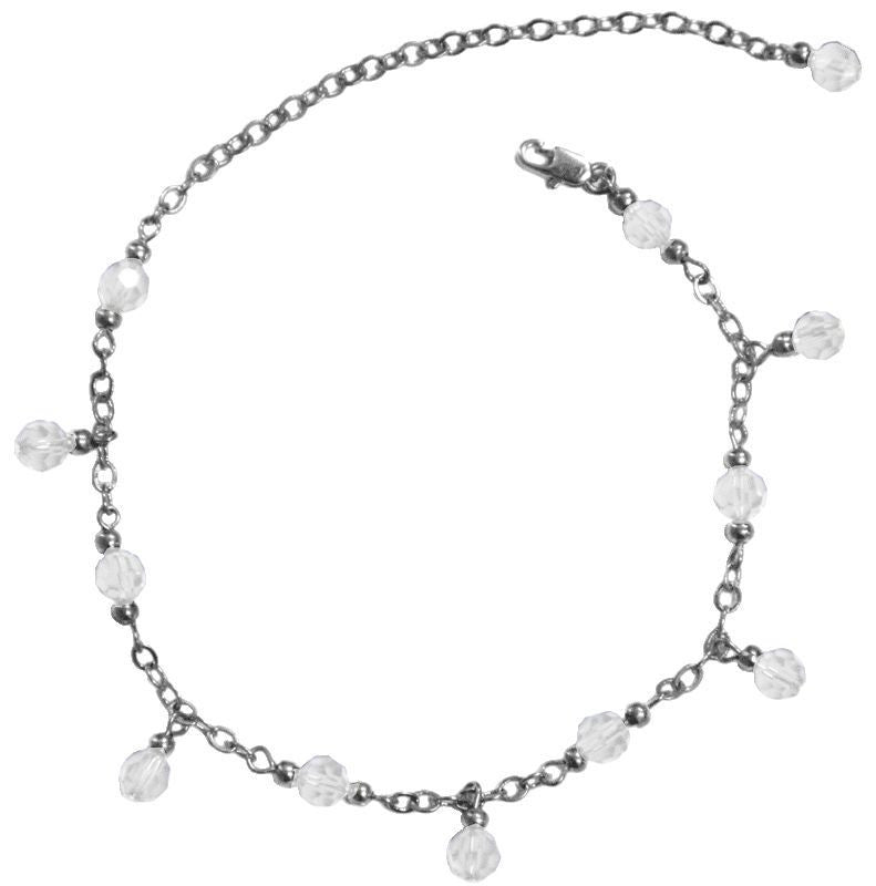 Medieval Metal - Anklet Silver Dangling Clear Beads (AT-02-CL-S)
