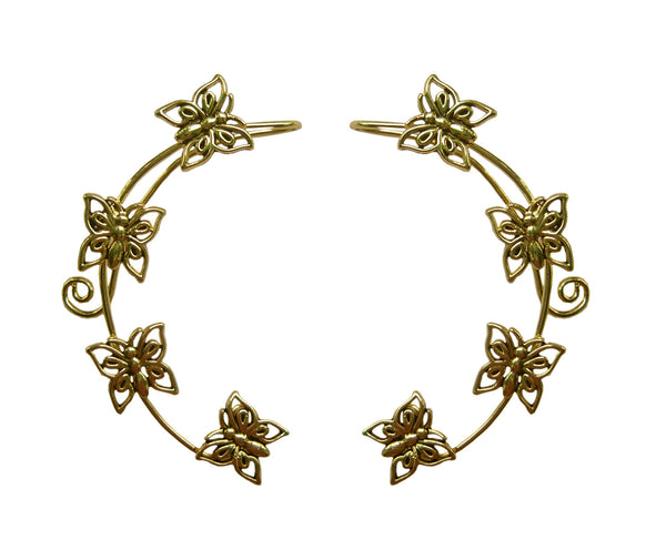 Medieval Metal Elf Cuff Butterfly Gold Front View (EF19-G)