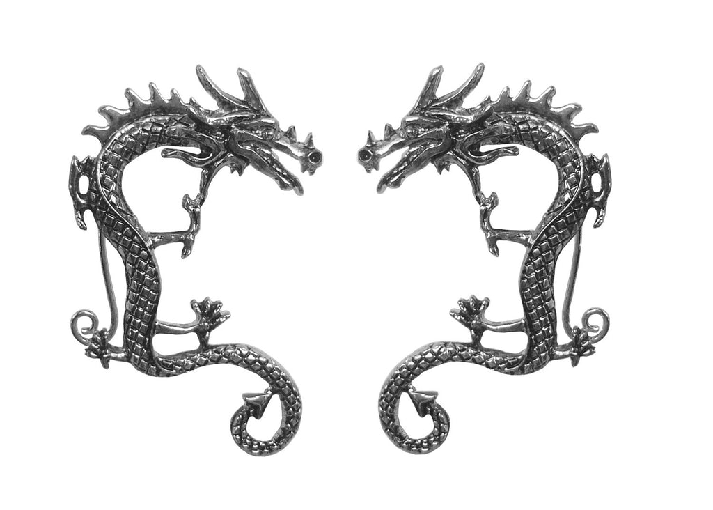 Medieval Metal - Elf Cuff Dragon Silver, Renaissance Festival Ear Jewelry Front View (EF23-S)