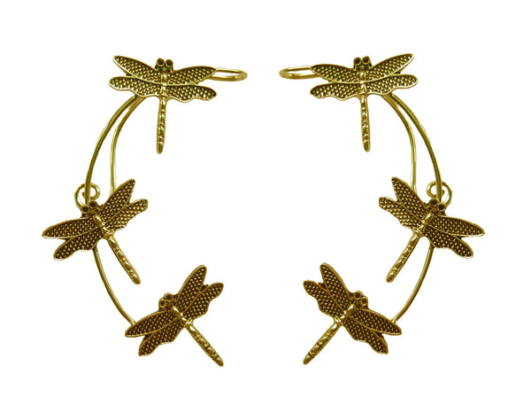 Medieval Metal - Elf Cuff Dragonfly Gold Front View (EF17-G)