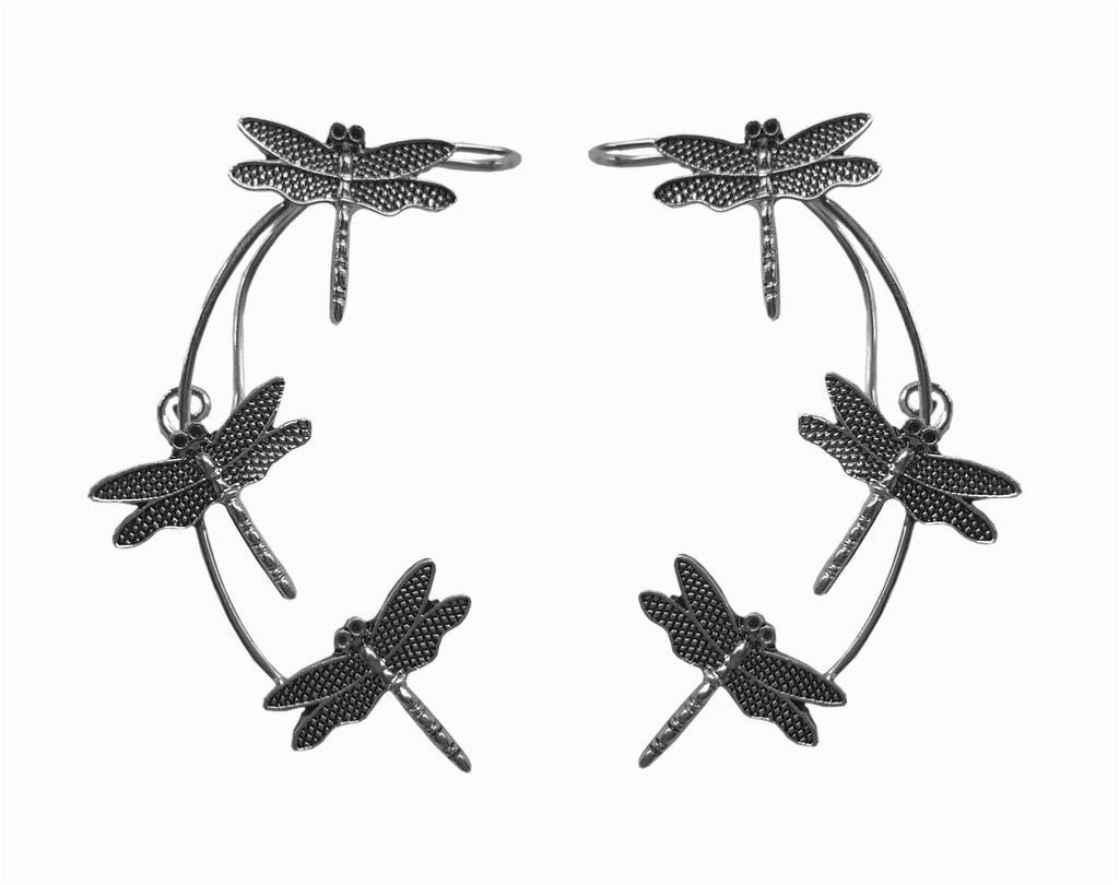 Medieval Metal - Elf Cuff Dragonfly Silver Front View (EF17-S)