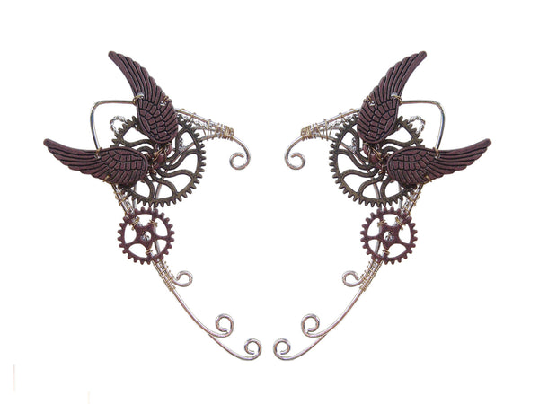 Two Wing Voyage Steampunk Elf Ear Cuffs