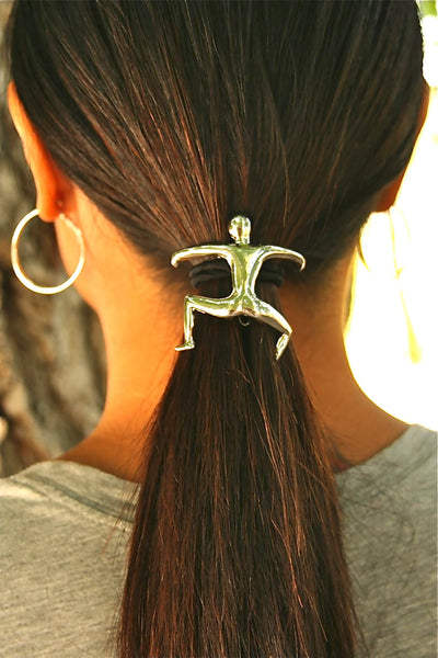 Hair Hook Hang Man Silver Fashion Ponytail Holder