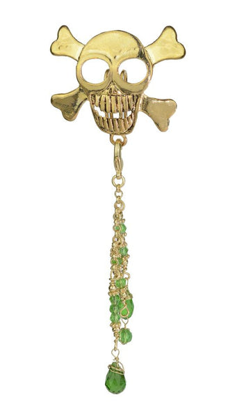 Hair Hook Gold Skull with Bead Charm