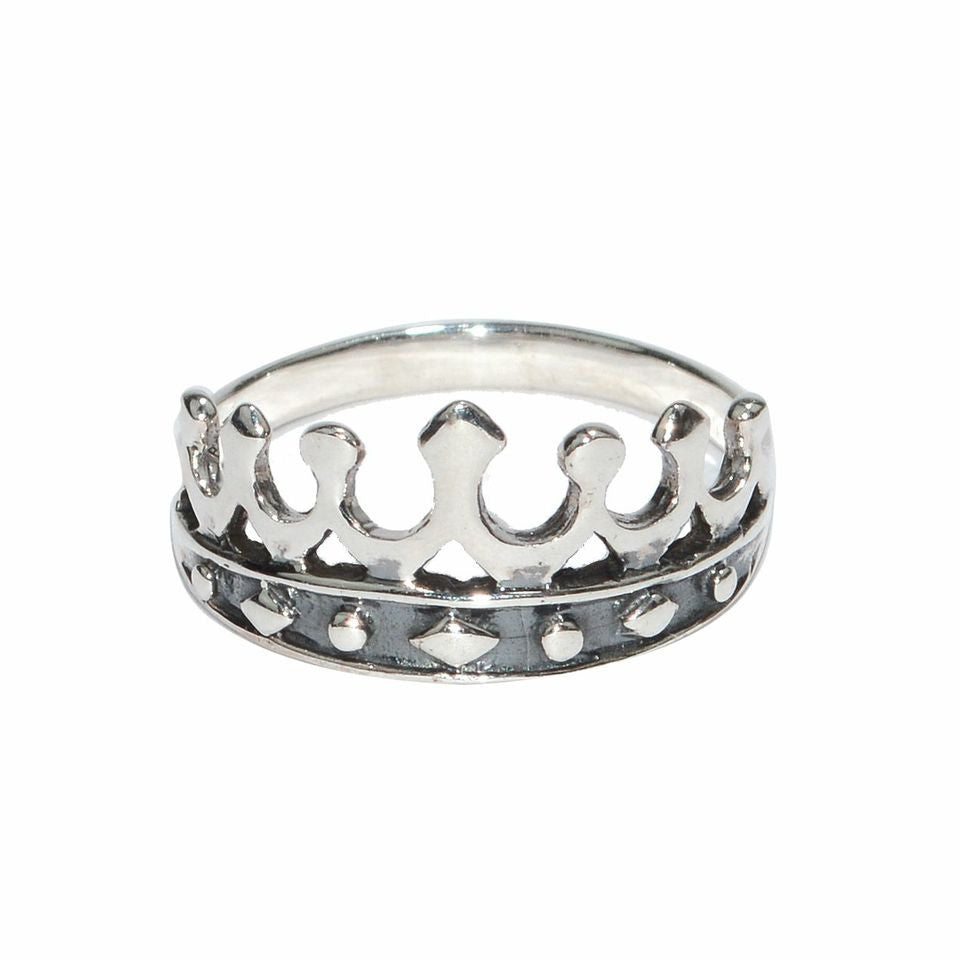 Medieval Metal - Crown Ring Sterling Silver Front View (R-CN-Sterling)