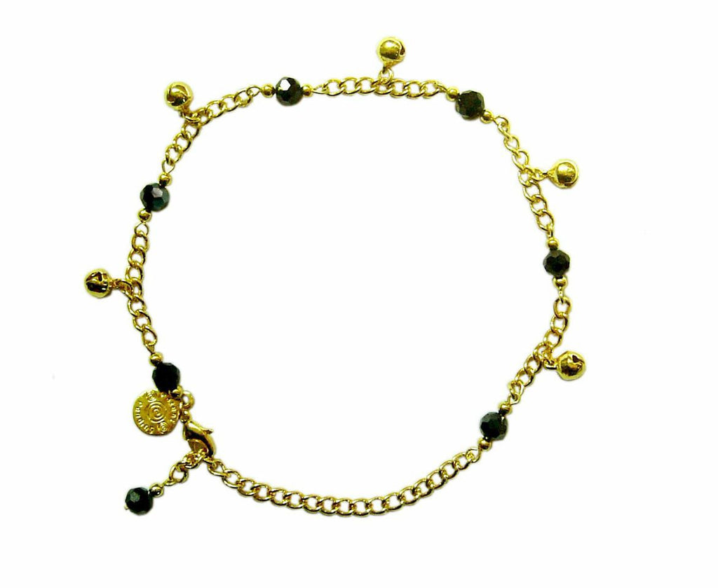 Medieval Metal - Anklet Gold Bells and Black Beads (AT-04-BK-G)