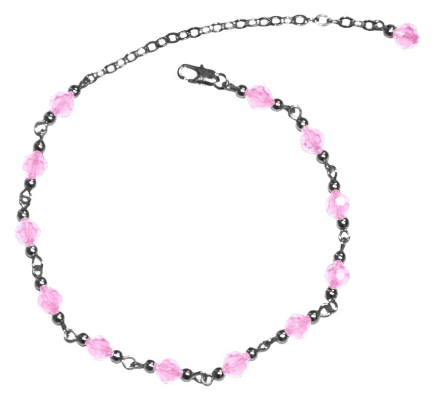 Medieval Metal - Anklet Silver Pink Beaded Front View (AT-01-PK-S)