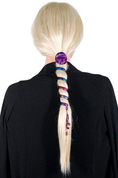 Ponytail Wrap Rainbow Woven Leather - 6 Inch Ponytail Holder