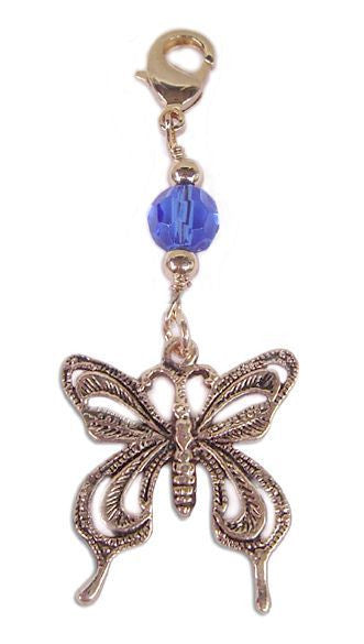 Hair Twisters - Charm Large Gold Blue Butterfly (CHL-CL-BL-G)