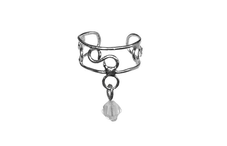 Ear Cuff Dangling Bead - Silver