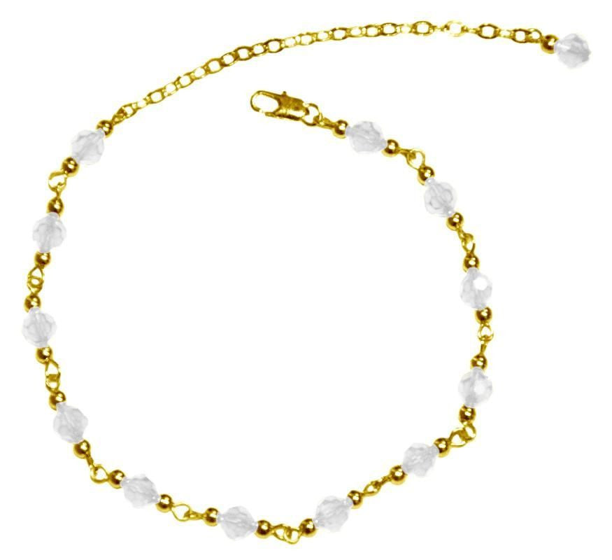 Medieval Metal - Anklet Gold Bells and Clear Beads (AT-01-CL-G)