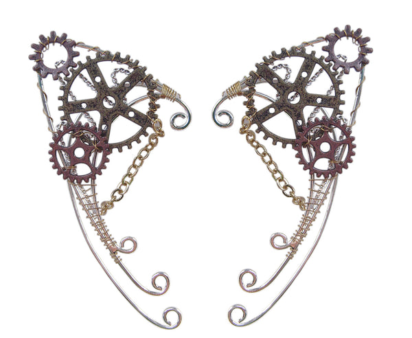 Medieval Metal Gaslamp Fantasy Steampunk Elf Ear Cuffs