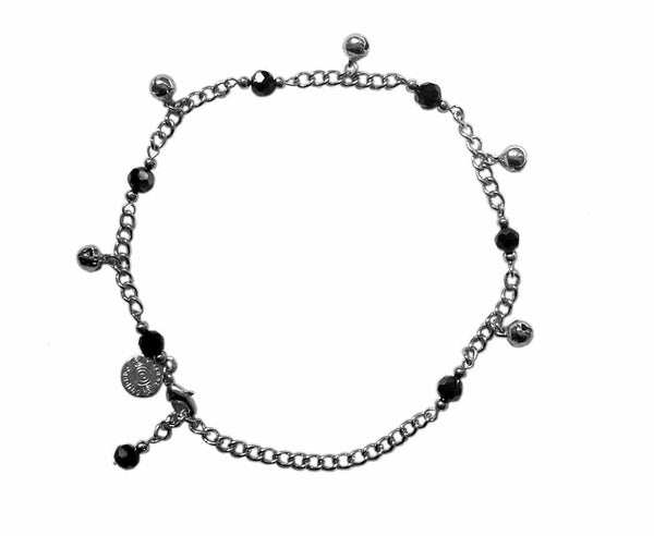 Medieval Metal - Anklet Silver Bells and Black Beads (AT-04-BK-S)