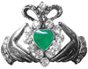 Hair Hook Claddagh with Green Heart - Silver Ponytail Holder