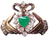 Hair Hook Claddagh with Green Heart - Gold Ponytail Holder