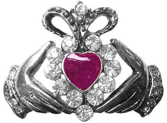 Hair Hook Claddagh with Pink Heart - Silver Ponytail Holder