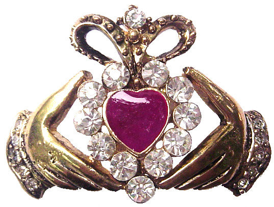 Hair Hook Claddagh with Pink Heart - Gold