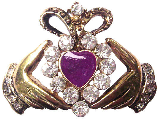 Hair Hook Claddagh with Purple Heart - Gold