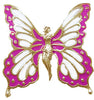 Hair Hook Fairy Butterfly - Gold with Pink Wing Ponytail Holder