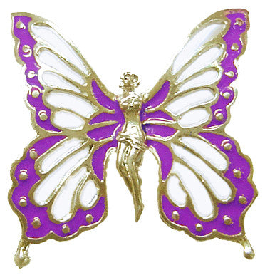 Hair Hook Fairy Butterfly - Gold with Purple Wings Ponytail Holder