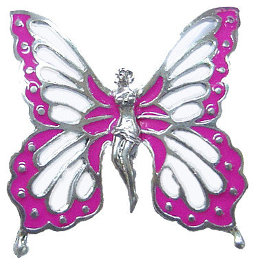 Hair Hook Fairy Butterfly - Silver with Pink Wing Ponytail Holder