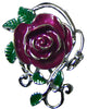 Hair Hook Maroon Rose - Silver Ponytail Holder