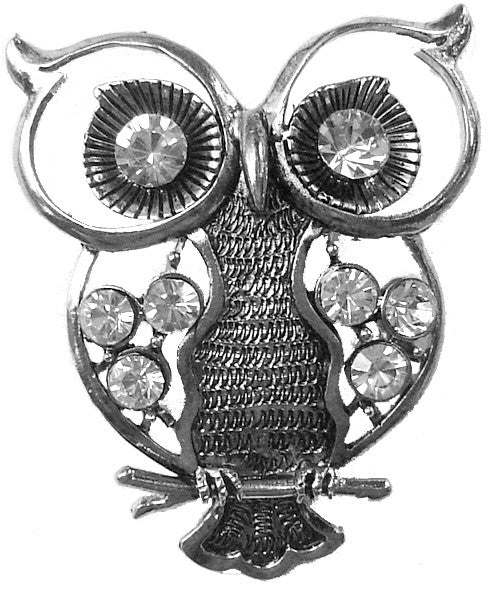 Hair Hook Owl with Diamond - Silver Ponytail Holder