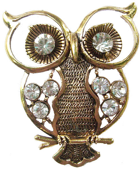 Hair Hook Owl with Diamonds - Gold Ponytail Holder