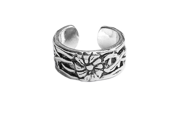 Toe Ring Silver - Antique Flower