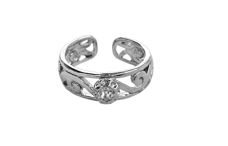 Toe Ring Silver - Spiral Band with Stone