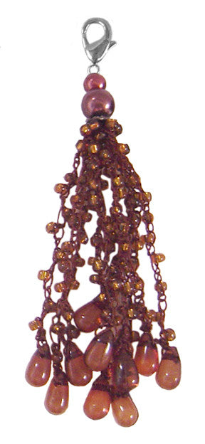 Charm Large Macrame yarn with Beads - Dark Brown