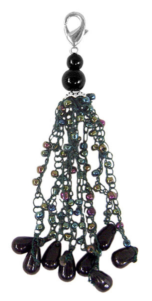 Charm Large Macrame yarn with Beads - Dark Green