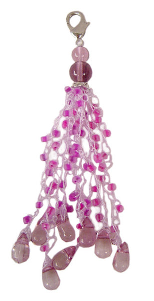Charm Large Macrame yarn with Beads - Purple