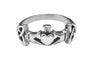 Medieval Metal - Claddagh with Eternity Knots Ring Front View (R-CE-S)