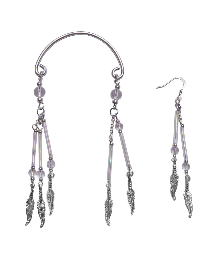 Ear Wrap Silver - Feather