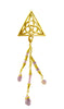 Hair Hook Gold Celtic Triangle with Bead Charm Ponytail Holder