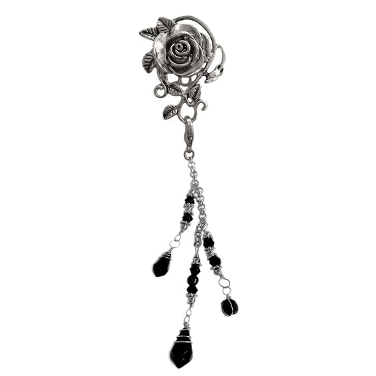 Hair Hook Silver Rose with Bead Charm Ponytail Holder
