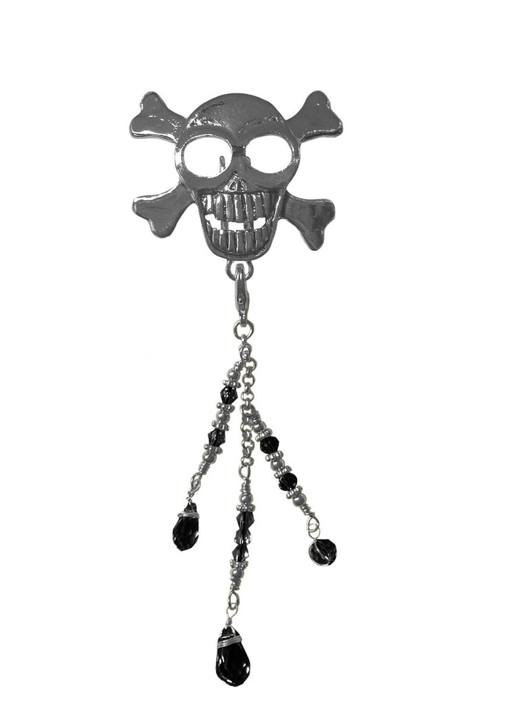 Hair Hook Silver Skull with Bead Charm Ponytail Holder