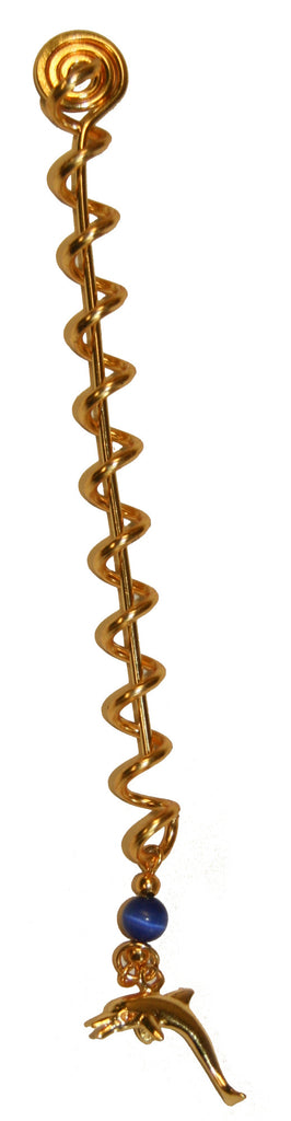 Hair Twisters Gold Original - 4 Inch with Dolphin Charm