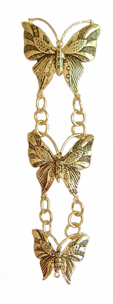 Hair Twisters - Hair Armor Butterfly Gold Ponytail Holder, Renaissance Hair Accessory Front View (HAB-G)