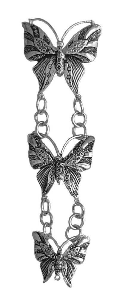 Hair Twisters - Hair Armor Butterfly Silver Ponytail Holder Front View (HAB-S)
