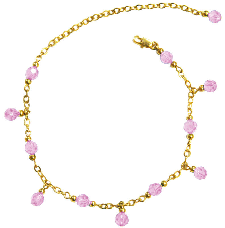 Medieval Metal - Anklet Gold Chain and Pink Dangling Beads Front View (AT-02-PK-G)