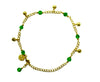 Medieval Metal - Anklet Gold Bells and Green Beads (AT-04-GN-G)