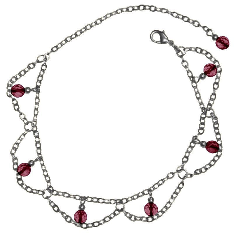 Medieval Metal - Anklet Dangling Purple Beads & Silver Chains (AT-03-PU-S)