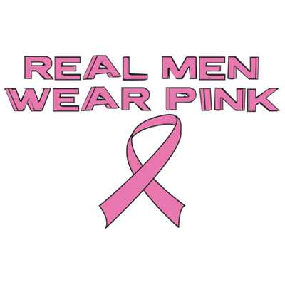 Real Men Wear Pink Ribbon Breast Cancer Awareness Month Support Mens T-shirt