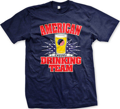 American Drinking Team Cheers USA Flag Red White Blue Pride Beer Mens T-shirt