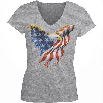 American Flag Bald Eagle USA Patriotic Independence Day Juniors V-neck T-shirt
