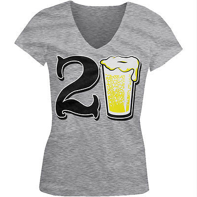 21st Happy Birthday Drinking Drunk Party Beer Shenanigans Juniors V-neck T-shirt
