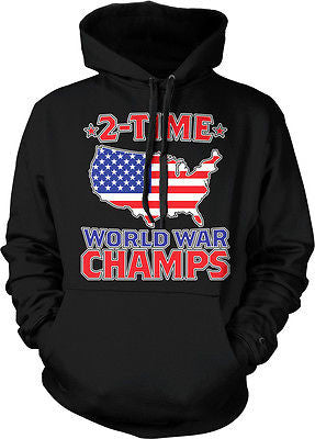 2-time World War Champs USA Flag Map Outline Patriotic America Hoodie Pullover